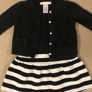 Janie and Jack Black & White outfit w/ tights